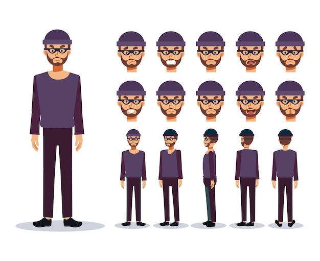 Set van platte vectorillustratie karakter, een man is een dief slechterik, verschillende weergaven, cartoon-stijl.