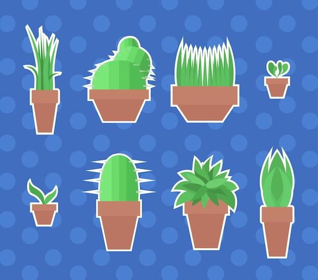 Set van platte vectorstickers met huisplanten in potten