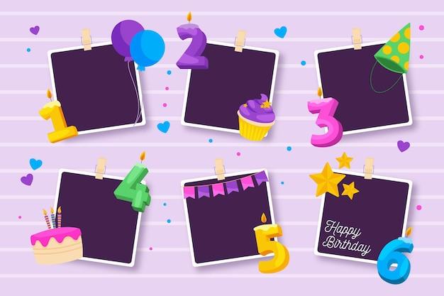 Set van platte verjaardag collage frame