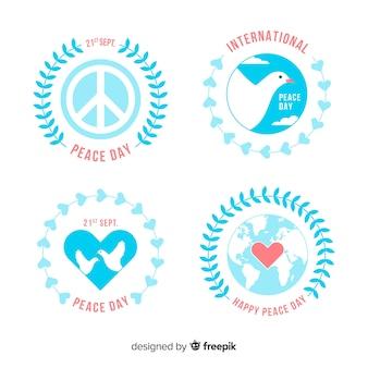 Set van platte vredesdag badges