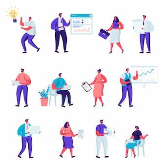 Set van platte zakelijke office mensen personages.