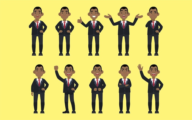 Set van platte zakenmensen met verschillende emoties