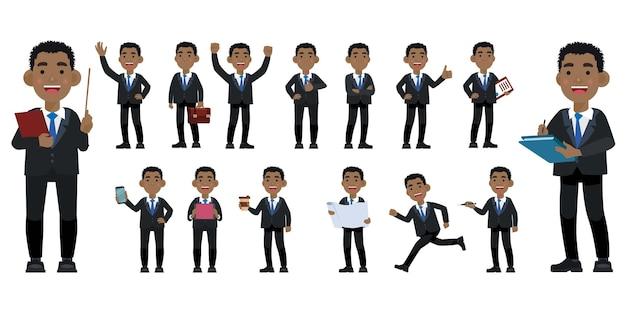 Set van platte zakenmensen met verschillende poses