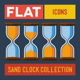 Set van platte zand klokken