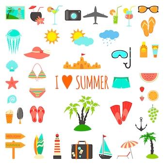 Set van platte zomer elementen