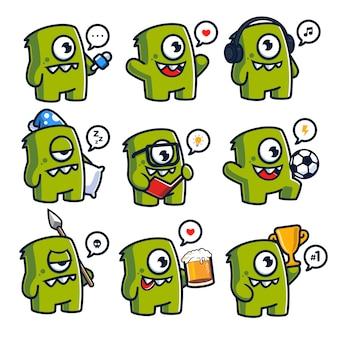 Set van plezier monsters mascotte karakter