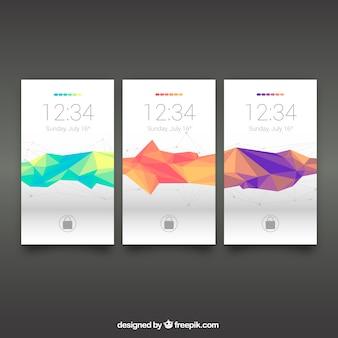 Set van polygonale mobiele wallpapers