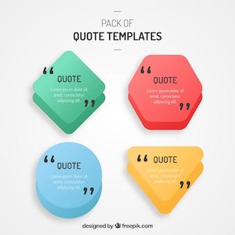 Set van polygonale vorm sjablonen voor citaten
