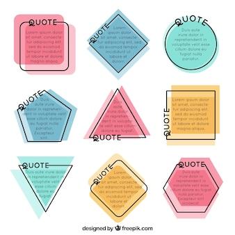 Set van polygonale vormkaders voor citaten