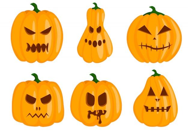 Set van pompoen geïsoleerd op een witte achtergrond. symbool van de halloween-vakantie.