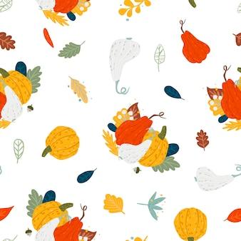 Set van pompoenen naadloos patroon