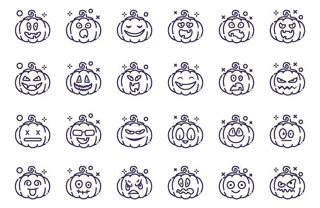 Set van pompoenen voor halloween