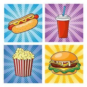 Set van pop-art fastfood hoe hotdog met frisdrank en hamburger