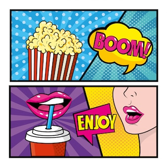 Set van pop-art komische met popcorn en vrouw frisdrank drinken met berichten