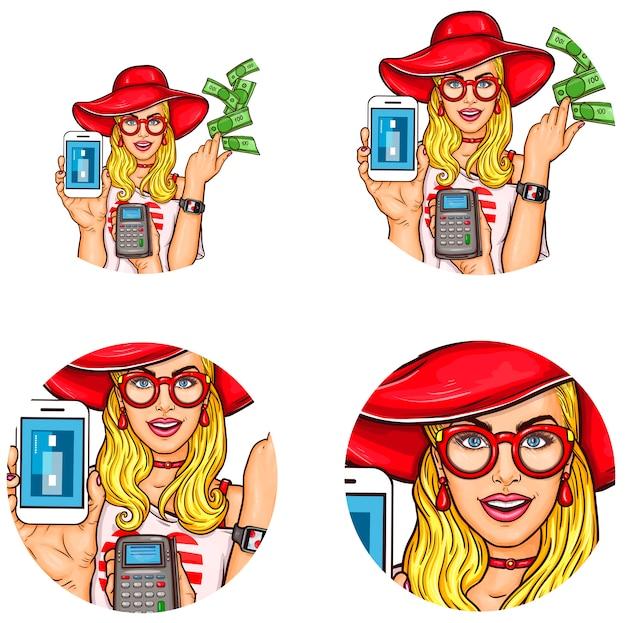 Set van popart ronde avatar pictogram voor gebruikers van sociale netwerken, blogs, profielpictogrammen