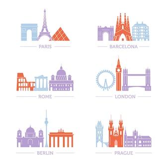 Set van populaire architectuur in europese steden