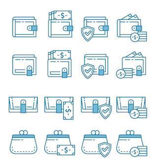 Set van portemonnee pictogrammen met kaderstijl