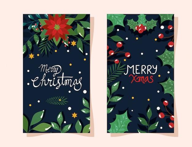 Set van poster van vrolijk kerstfeest met bloemen en bladeren