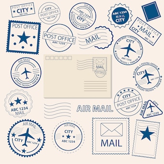 Set van postzegels en stempels