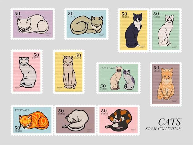 Set van postzegels met katten