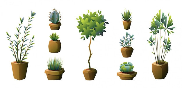 Set van potplanten. vector.