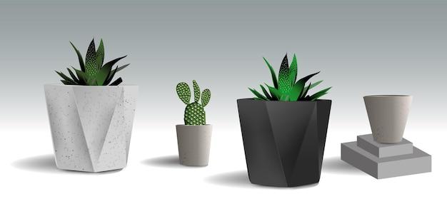 Set van potten met verschillende vormen lege potten en potten met bloemen en planten