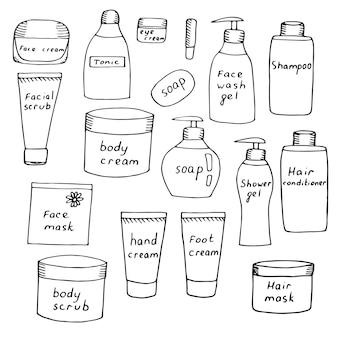 Set van potten met zorgcosmetica, crèmes en scrubs voor gezicht, lichaam, handen en voeten, shampoo en haarbalsem, vectorillustratie, schets