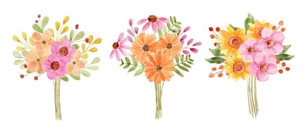 Set van prachtige aquarel bloemboeket