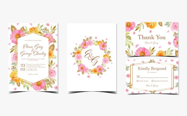Set van prachtige bloemen aquarel met roze en gele bloemen