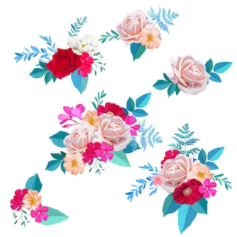 Set van prachtige boeketten met rozen en brier bloemen in aquarelstijl
