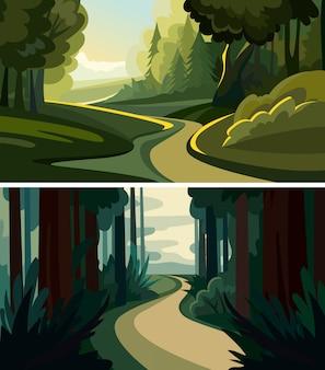 Set van prachtige boslandschappen. natuurlijke landschappen in cartoon-stijl.