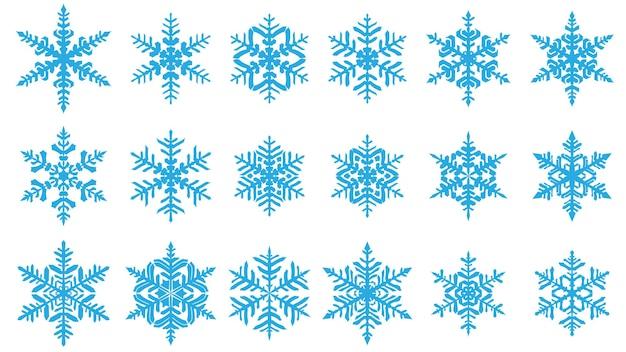 Set van prachtige complexe kerst sneeuwvlokken, lichtblauw op witte achtergrond