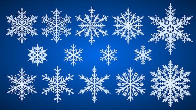 Set van prachtige complexe kerstsneeuwvlokken