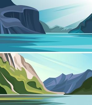 Set van prachtige fjord landschappen. natuurlandschappen met bergen en water.