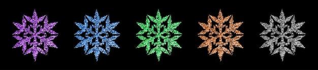 Set van prachtige glanzende complexe kerstsneeuwvlokken gemaakt van glitters in verschillende kleuren