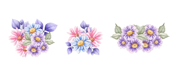 Set van prachtige handgetekende aquarel lente bloemboeket collectie