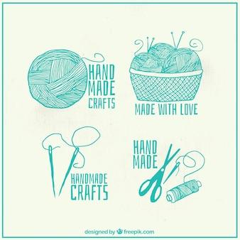 Set van prachtige handgetekende naaien logos