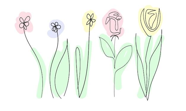Set van prachtige lentebloemen op witte achtergrond een doorlopende lijn zwarte contour kunst gekleurd