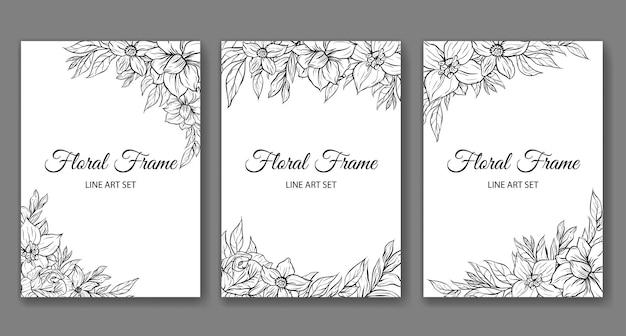 Set van prachtige lijntekeningen roze bloem tropische framerand