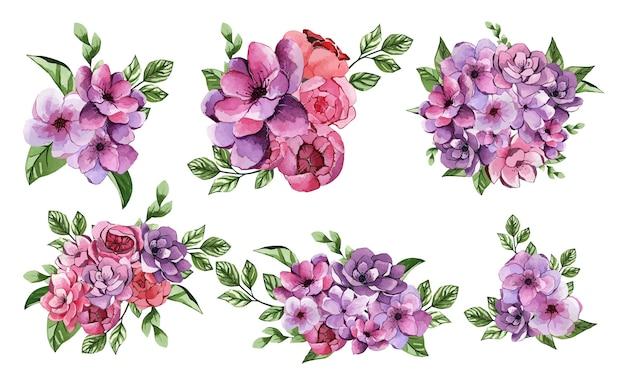 Set van prachtige lila aquarel bloemboeketten