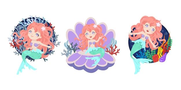 Set van prachtige zeemeermin met koraal decoratie. vlakke stijl vector