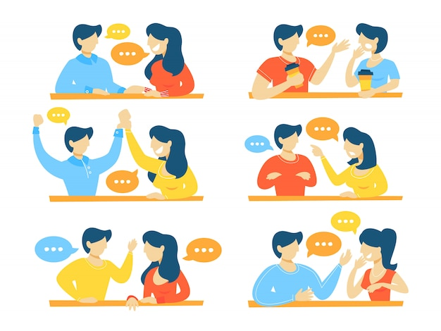 Set van pratende mensen. dialoog tussen man en vrouw met tekstballonnen. communicatie en zakelijk gesprek. illustratie