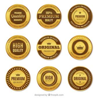 Set van premium ronde gouden stickers
