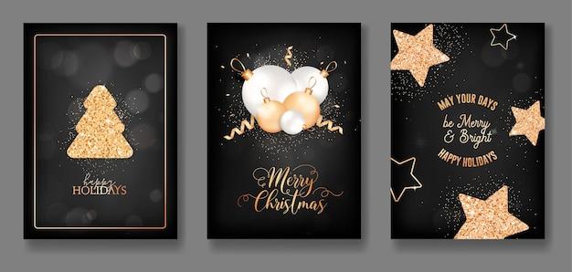 Set van prettige feestdagen, prettige kerstdagen en nieuwjaar elegante wenskaarten met glanzende gouden fir tree, glitter, kerstballen, sterren en confetti. uitnodiging, flyer of banner design. vectorillustratie