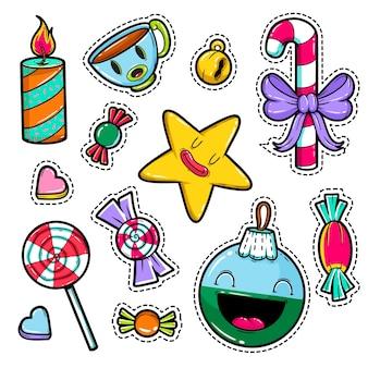 Set van prettige kerstdagen en gelukkig nieuwjaar stickers. feestelijk.