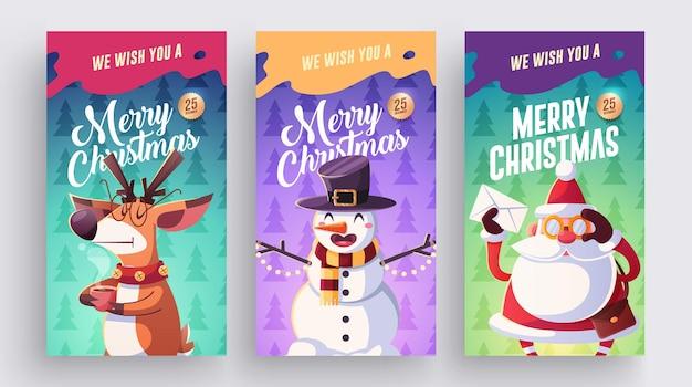 Set van prettige kerstdagen en gelukkig nieuwjaar wenskaarten ontwerp met kerst karakters vector