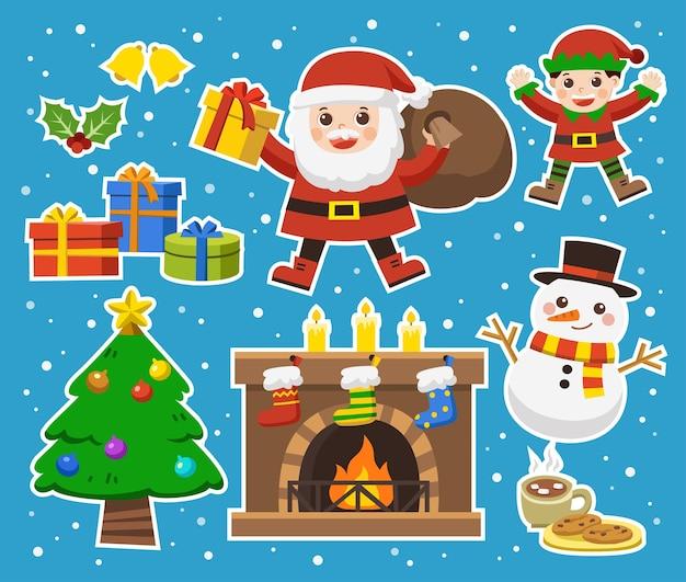 Set van prettige kerstdagen en gelukkig nieuwjaar.