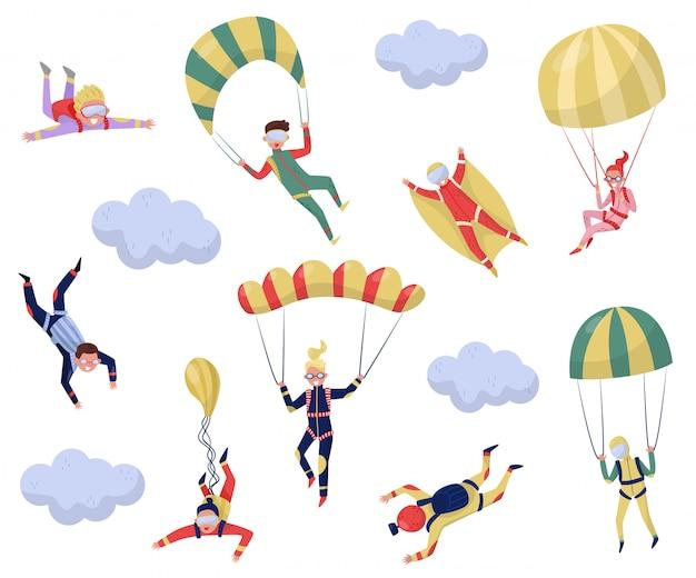 Set van professionele skydivers. extreme sporten. jonge wingsuit trui. actieve recreatie. thema parachutespringen