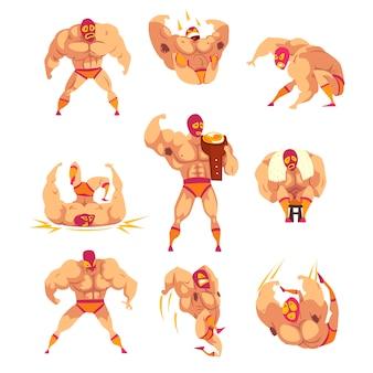 Set van professionele spierworstelaar in verschillende acties. mixed martial artist. vechtsport. sterk man karakter in masker en sportbroek.