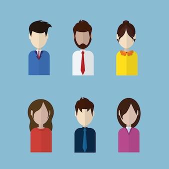 Set van profiel pictogrammen mannelijke en vrouwelijke avatars collectie